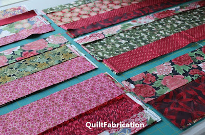 Asian fabric strips for an Accent on Angles quilt
