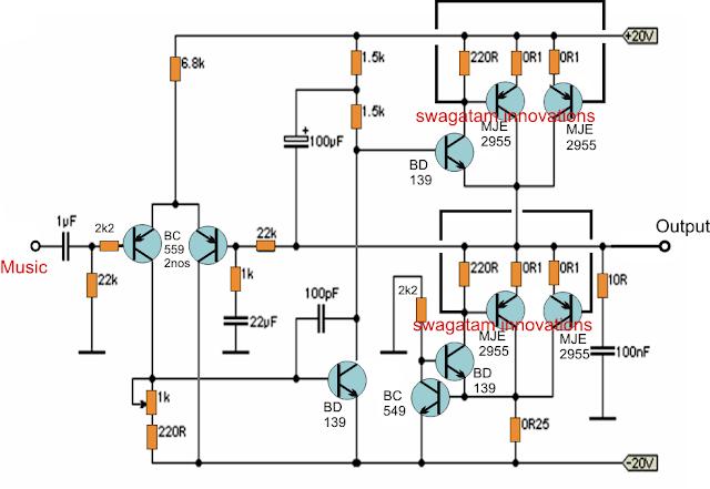 20 watt transistor amplifier circuit
