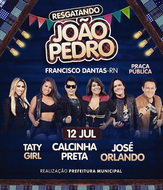 Calcinha Preta, Taty Girl e José Orlando na praça pública de Francisco Dantas/RN