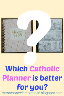 This blog post compares 2 popular Catholic Planners to give you some ideas of what a perfect planner would look like for a mom who wants to stay on the right track with her faith during her busy life. 1 planner may be purchased as printables and stickers may be purchased. Both are beautiful planners with a monthly and weekly calendar and follow Church teachings. Which Catholic planner works best for you? Read the post to discover if one of these mentioned is just what you've been looking for.