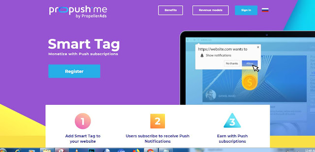 Cara menerapkan tautan trafficbacklink pada web dan blog atau link simple  kode Propush.me