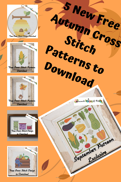 five free cross stitch patterns to download inspired by the fall autumn harvest fair