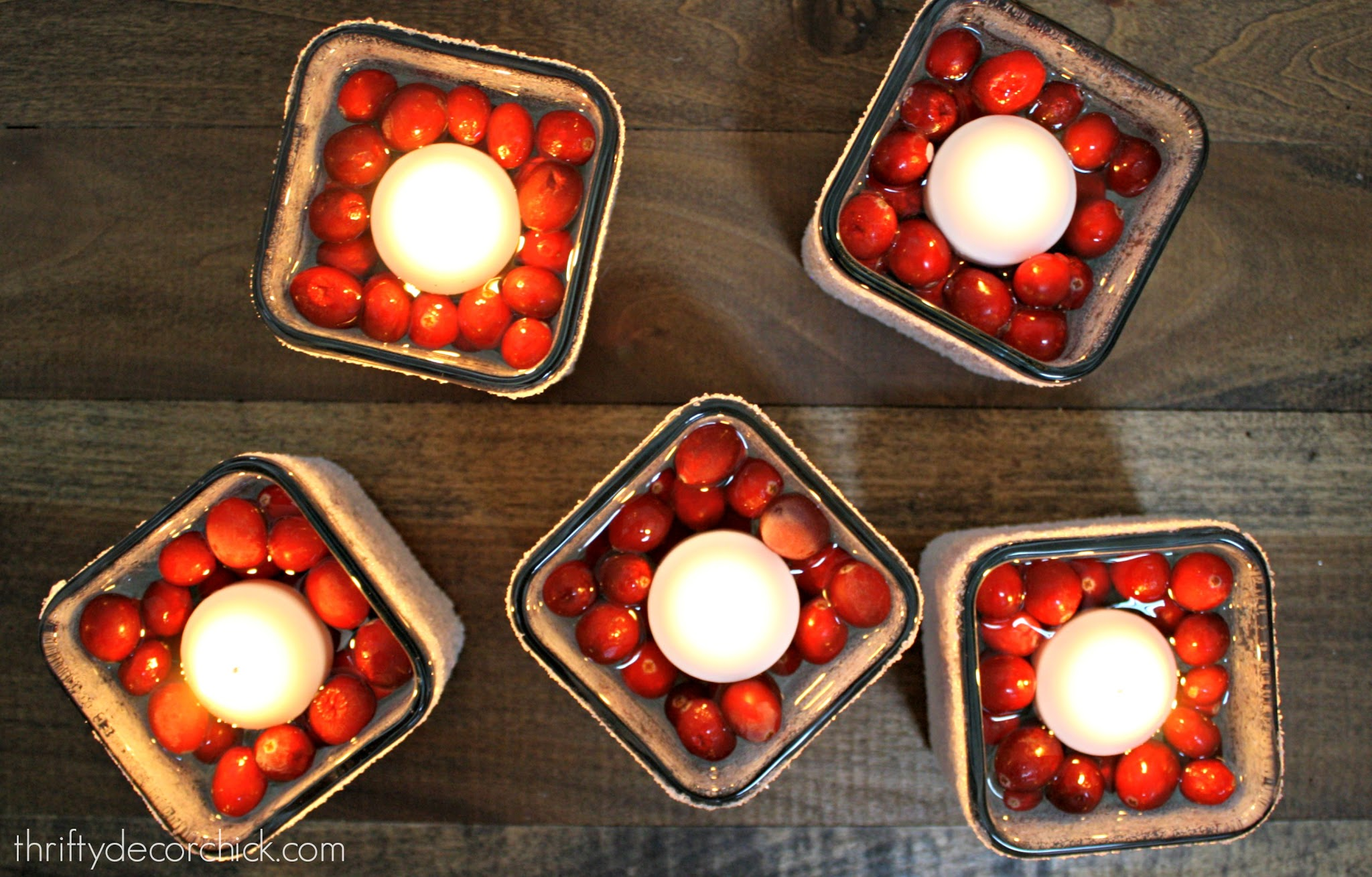 floating cranberry holiday candles
