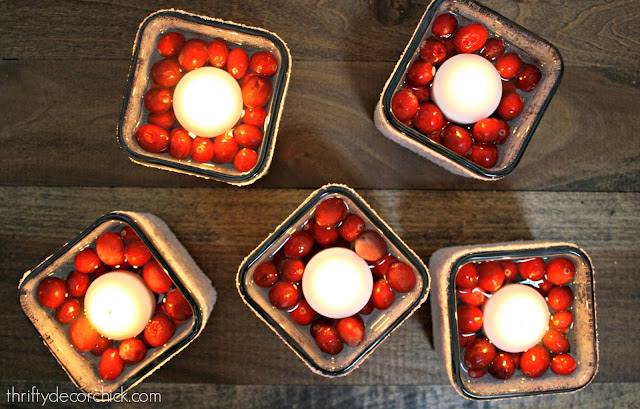 cranberry candles for the holidays