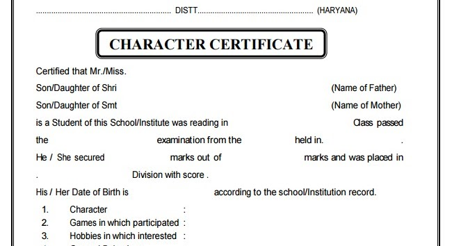 School education haryana character certificate thecheapjerseys Choice Image