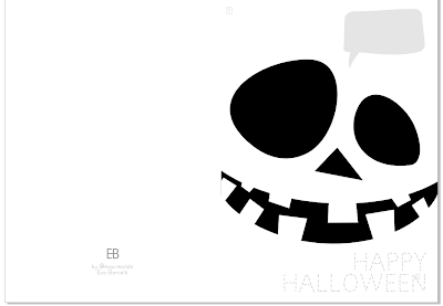 Tarjeta calabaza Halloween blanco y negro | Pumpkin Halloween Card to color by Eva barceló
