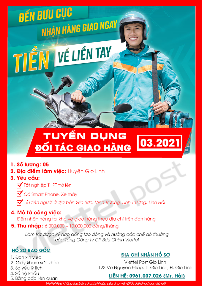 ViettelPost Quảng Trị tuyển dụng đối tác giao hàng tại Gio Linh