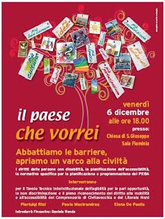 locandina evento sull'abbattimento delle barriere del dicembre 2013