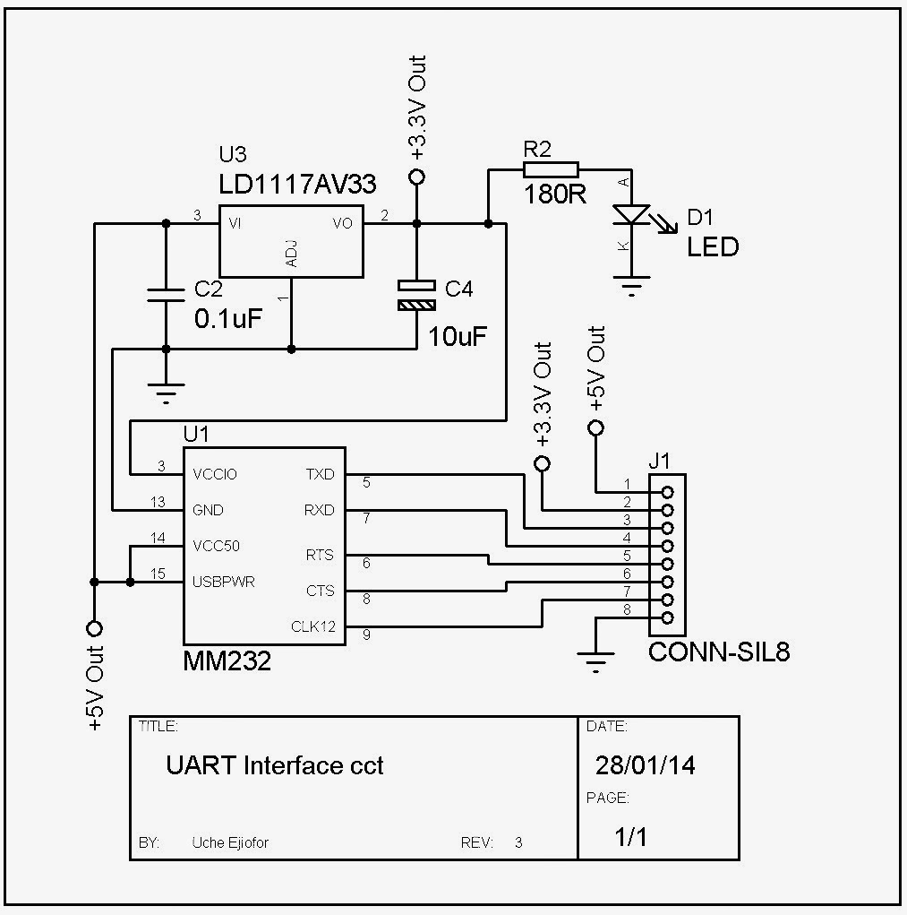 e-cracked Solutions: UART to USB Converter schematic