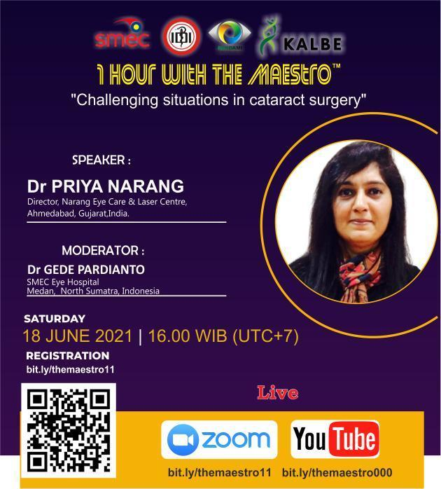 """(FREE CERTIFICATE) WEBINAR 1 Hour with the Maestro :  """"Challenging Situations in Cataract Surgery"""""""