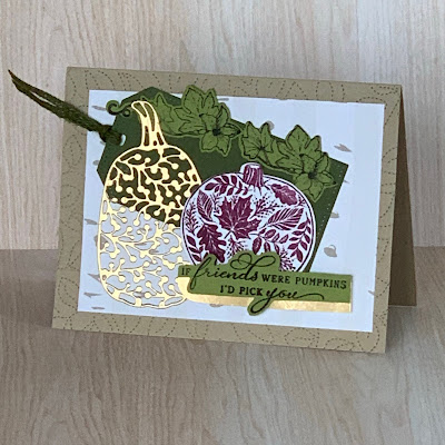 Fall greeting card using Stampin' Up! Detailed Pumpkin Dies and Pretty Pumpkin Stamp Set