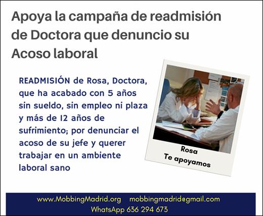 Apoya la campaña de readmisión de Doctora que denuncio su Acoso laboral