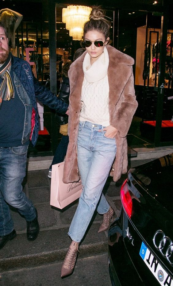 cropped flared jeans with fur coat heels celebrity street style
