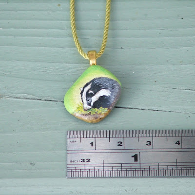 Hand painted badger pendant size