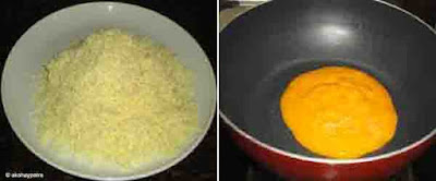 grate the mawa and put mango pulp in a pan