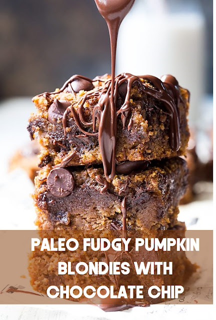 Paleo Fudgy Pumpkin Blondies with Chocolate Chip