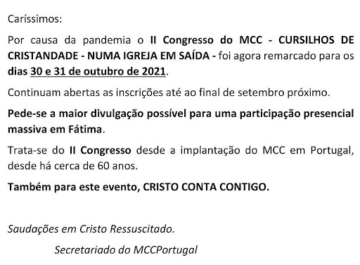 MCC - II CONGRESSO NACIONAL