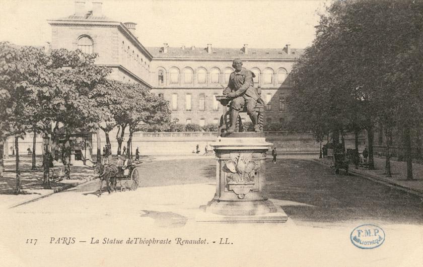 Пам'ятник Теофрастові Ренодо у Парижі (розплавлений у 40-х роках ХХ ст.)