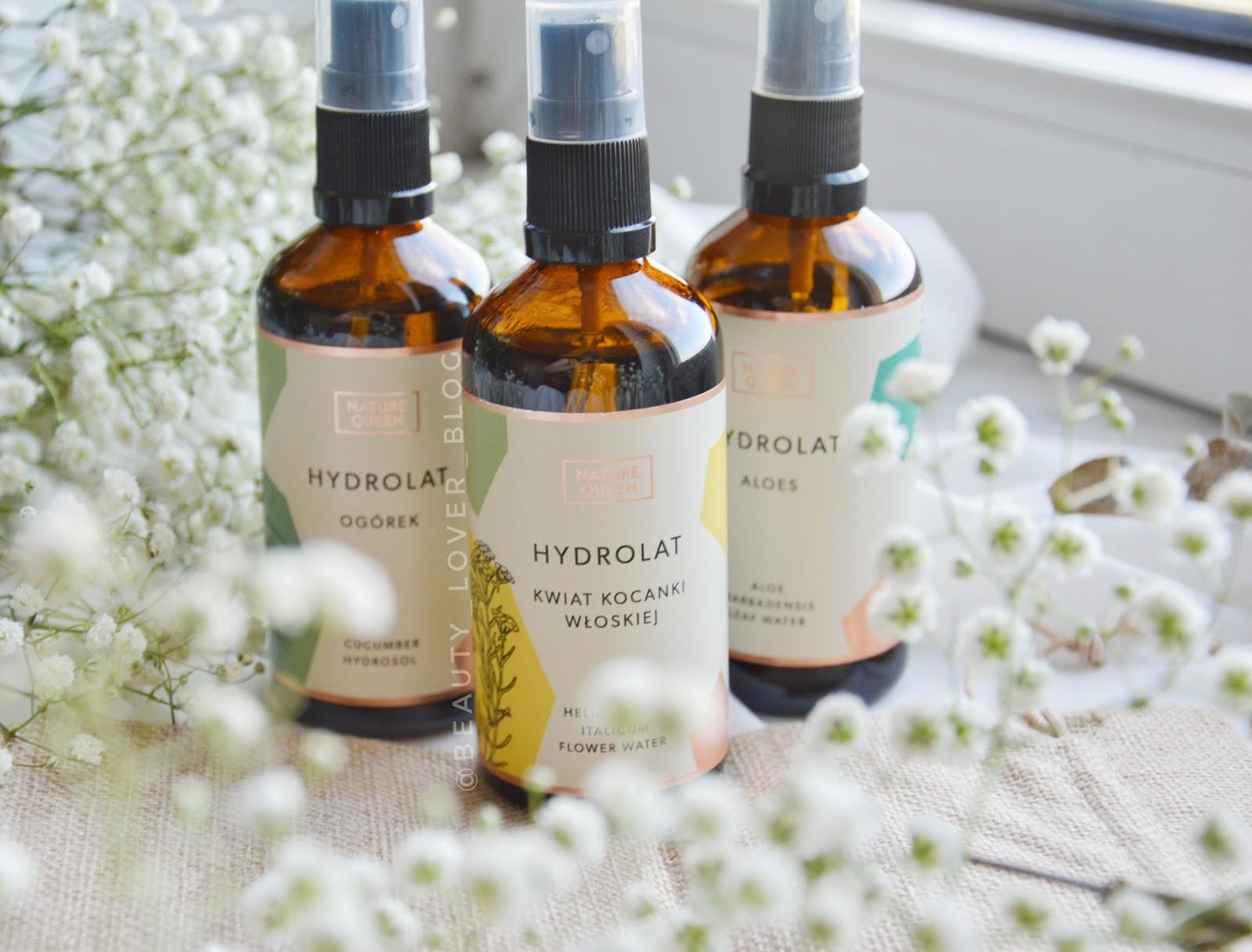Trzy hydrolaty trzy zastosowania- aloes, ogórek i kwiat kocanki od Nature Queen