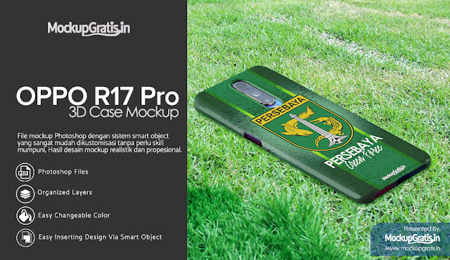 Mockup Gratis Custom Case 3D Oppo R17 Pro