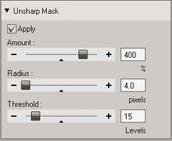 OV3: Fast Track RAW Development - Unsharp Mask Menu Setting