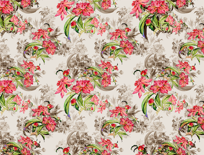 floral water colour textile repeat 7044
