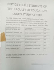 Announcement To All Students
