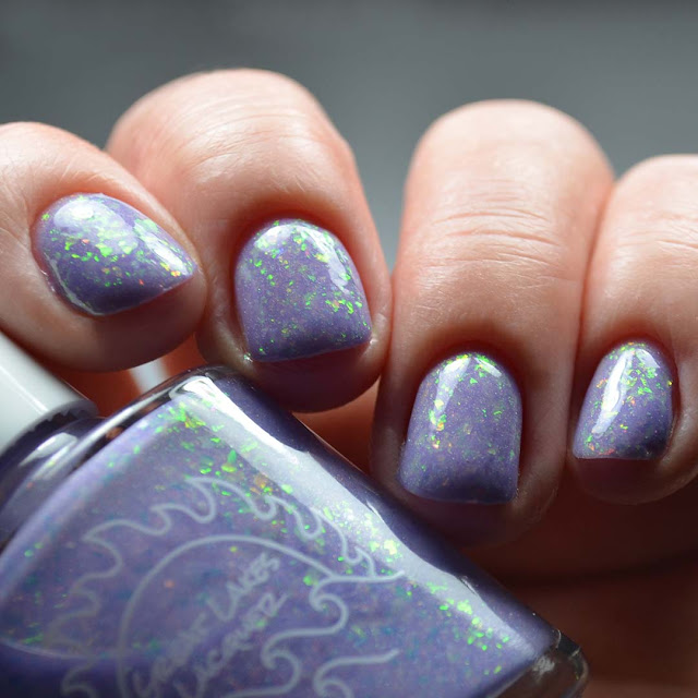 lavender flakie nail polish low light swatch