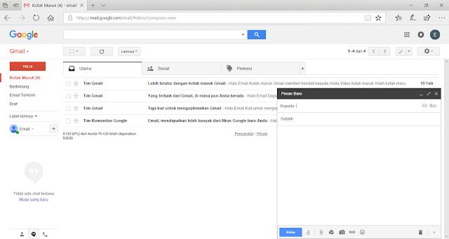 Tampilan Pop Up Window Pesan Baru Email