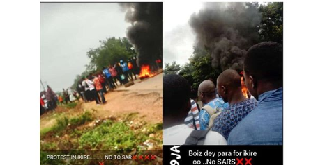 Just In: Uniosun Students Block The Road To Protest Against Sars Excesses In Ikire