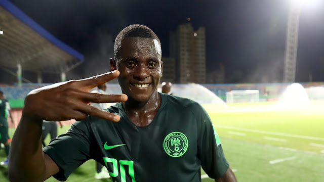Ibrahim Said posing for a picture with the 3 fingers after his hat-trick heroic against Ecuador at the U17 World cup