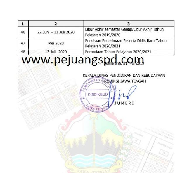 Kalender Pendidikan provinsi Jawa Tengah Tahun Pelajaran2019/2020 untuk SD dan MI