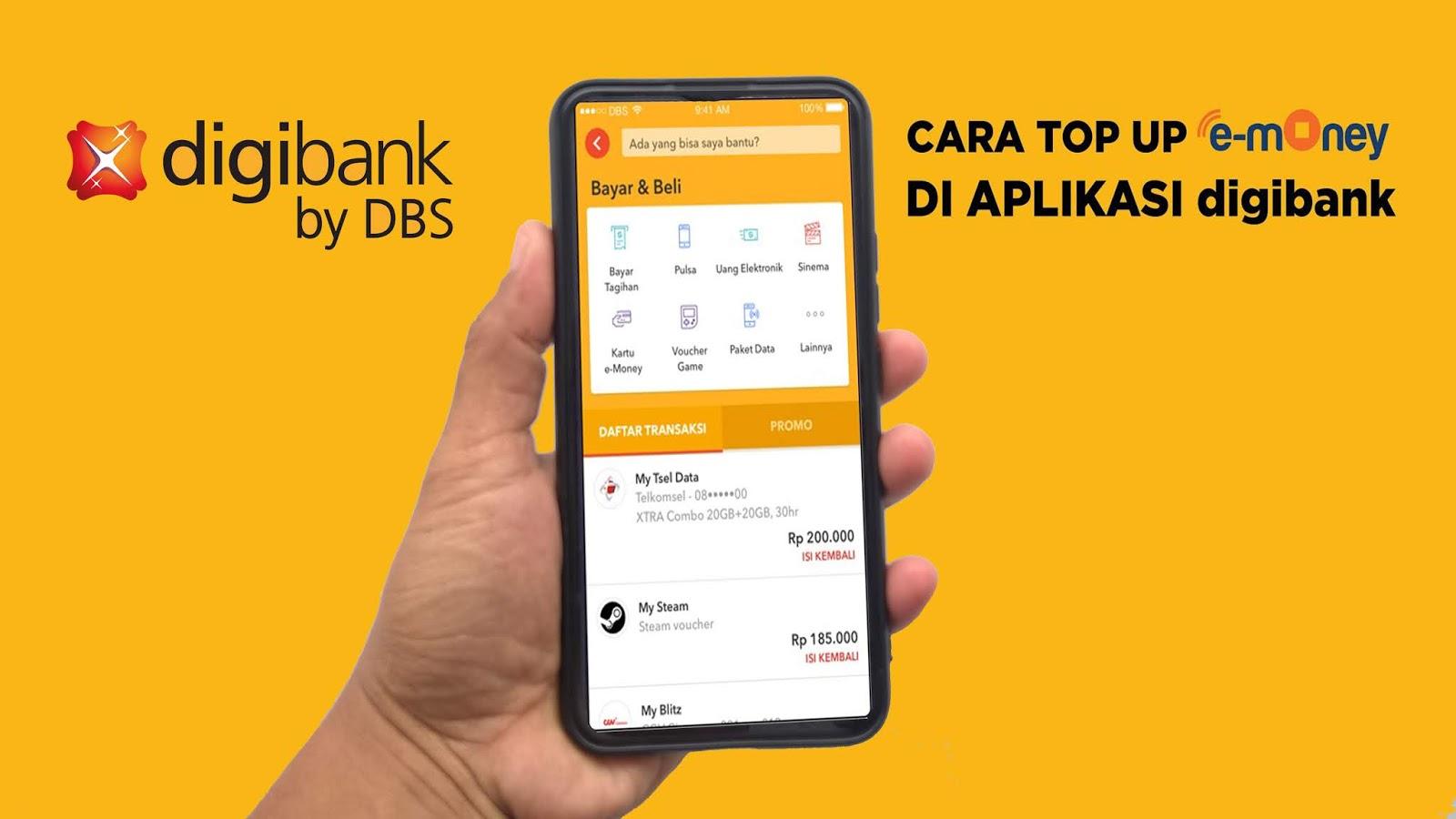 Top Up E-Money dari Aplikasi digibank by DBS