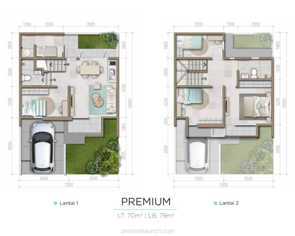 Denah Rumah Harumi Homes Tipe Sakura Premium