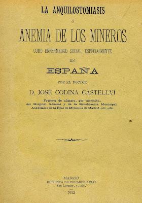 """Portada del libro """"La Anquilostomiasis o anemia de los mineros"""""""