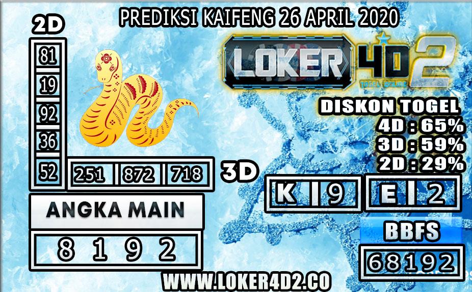 PREDIKSI TOGEL KAIFENG LOKER4D2 26 APRIL 2020