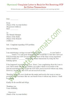complaint letter to bank manager for not receiving otp for online transactions