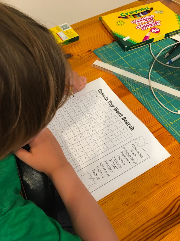 Free Canada Day Word Search Printable for K-2
