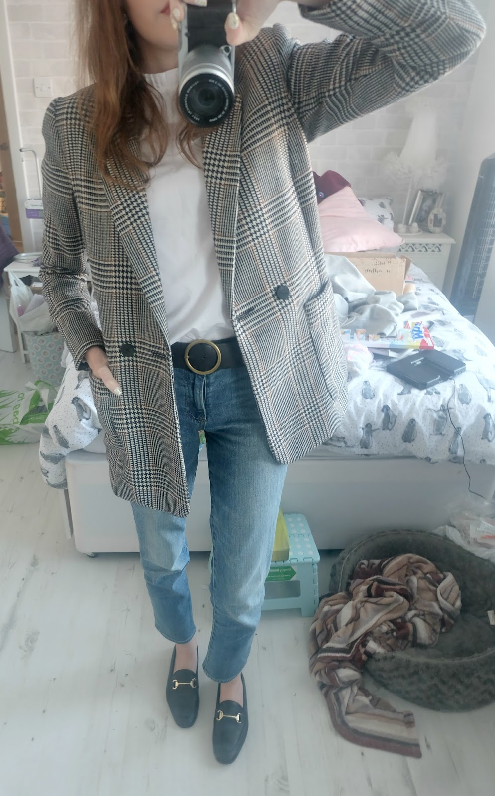 gap really straight jeans, office destiny loafers, h&m high necked blouse white, h&m checked blazer