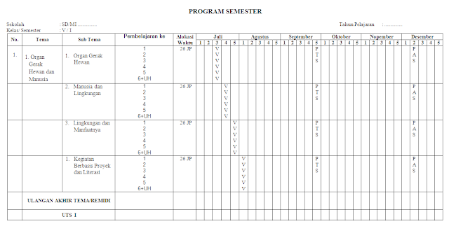 Promes kelas 5 SD/MI lengkap