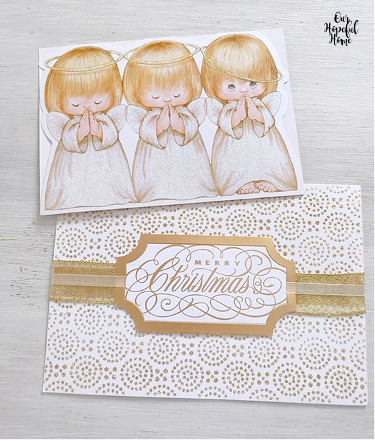 gold angels halos wings Christmas cards Merry Christmas gold tag ribbon