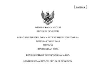 Peraturan Menteri Nomor 44 Tahun 2016 tentang Kewenangan Desa
