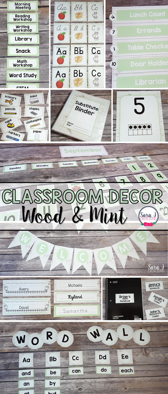 Farmhouse inspired white wood and mint classroom decor theme is perfect for creating a relaxing and homey classroom environment. This set has over 400 pages and it editable so you can customize it for your elementary classroom.