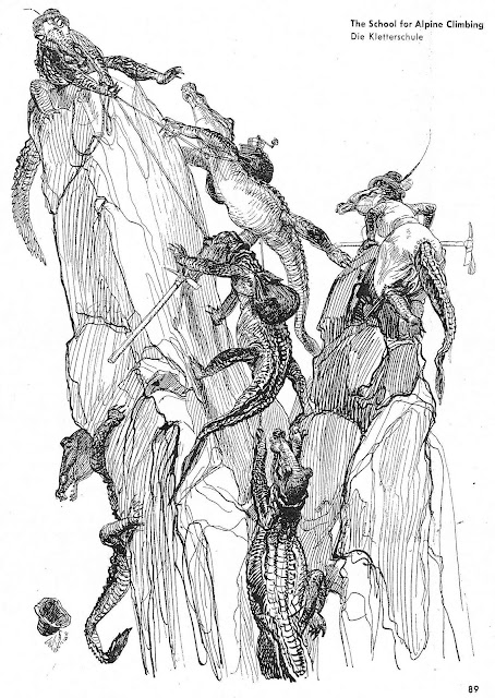 Heinrich Kley, alligators climbing a mountain
