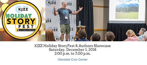 snapshot from event web page, featuring storyteller on stage and KJZZ Holiday Story Fest event logo