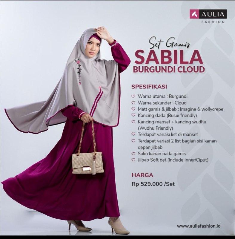 Gamis Aulia Fashion Terbaru Set Gamis Sabila Burgundi Cloud