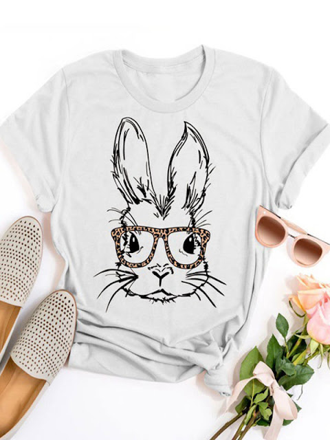 Round Neck Short Sleeve White Rabbit Print T-Shirt