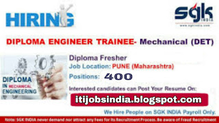SGK India Currently Require 400 Fresher Diploma Mechanical Holder for Pune Location in Automotive sector in CNC Machine Shop Production Line.