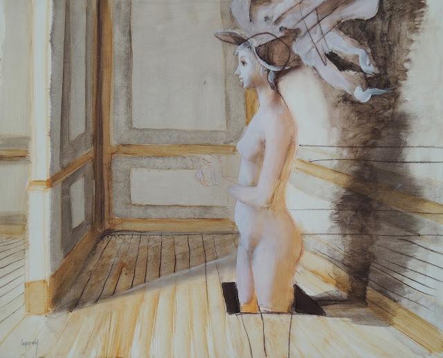 Glauco Capozzoli artista latinoamericano uruguayo dibujo coloreado grisella desnudo