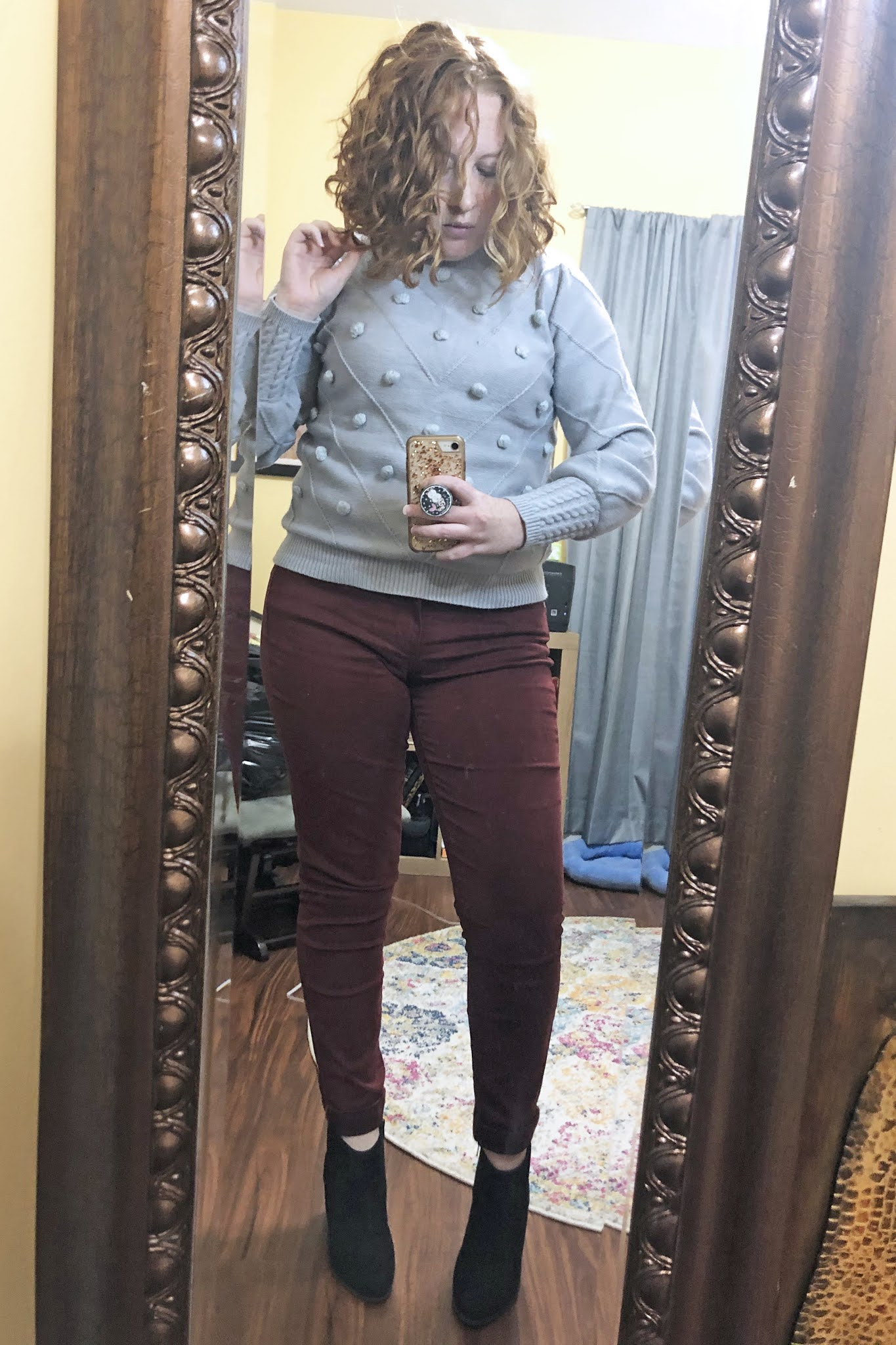 grey embellished sweater maroon pants